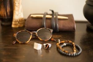 OBLYK Sunglasses  Abeo Matte Tortoise on table