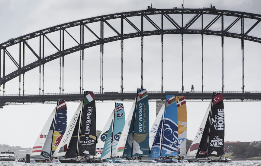 The Extreme sailing Series 2015. Act 8. Sydney. Australia .  Day 3 of racing in Sydney Harbour close to the shore. Image licensed to Lloyd Images